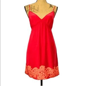 Twelve Street by Cynthia Vincent Red Silk Dress P